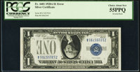 Inverted Back Error Fr. 1601 $1 1928A Silver Certificate. PCGS Choice About New 55PPQ