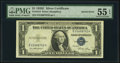 Error Notes:Inverted Reverses, Inverted Back Error Fr. 1614 $1 1935E Silver Certificate. PMG About Uncirculated 55 EPQ.. ...