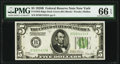 Fr. 1952-B $5 1928B Federal Reserve Note. PMG Gem Uncirculated 66 EPQ
