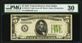 Small Size:Federal Reserve Notes, Fr. 1955-K* $5 1934 Light Green Seal Federal Reserve Note. PMG Very Fine 30.. ...
