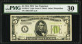 Fr. 1955-L* $5 1934 Light Green Seal Federal Reserve Note. PMG Very Fine 30