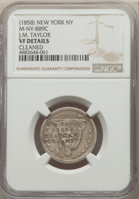 (1858) New York, NY Counterstamp, J.M. Taylor Broker, Chatham St., -- Cleaned -- NGC Details. VF. Counterstamped on 1853...