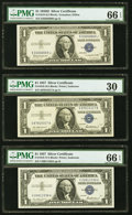 Small Size:Silver Certificates, Fr. 1618 $1 1935H Silver Certificate. PMG Gem Uncirculated 66 EPQ;. Fr. 1619 $1 1957 Silver Certificates. Two Examples. PM... (Total: 9 notes)