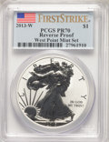 Modern Bullion Coins, 2013-W $1 Reverse Proof Silver Eagle, West Point Mint Set, First Strike PR70 PCGS. PCGS Population: (13595). NGC Census: (3...