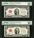 Small Size:Legal Tender Notes, Fr. 1505 $2 1928D Legal Tender Note. PMG Gem Uncirculated 65 EPQ (2).. ... (Total: 2 notes)