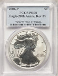 2006-P $1 Silver Eagle, 20th Anniversary, Reverse Proof, PR70 PCGS. PCGS Population: (3192). NGC Census: (11490). Mintag...