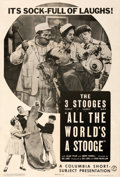 """Movie Posters:Comedy, The Three Stooges in All the World's a Stooge (Columbia, 1941). Very Fine- on Linen. One Sheet (27"""" X 41"""").. ..."""