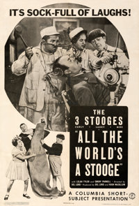 """The Three Stooges in All the World's a Stooge (Columbia, 1941). Very Fine- on Linen. One Sheet (27"""" X 41"""")..."""