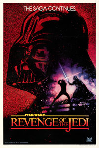 "Revenge of the Jedi (20th Century Fox, 1982). Fine+ on Linen. One Sheet (27"" X 41"") Undated Advance Style. Dre..."