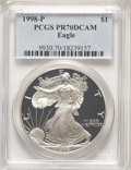 Modern Bullion Coins, 1998-P $1 Silver Eagle PR70 Deep Cameo PCGS. PCGS Population: (2567). NGC Census: (2399). ...