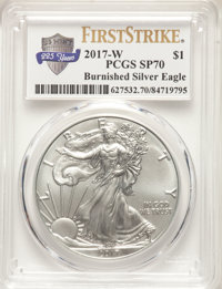 2017-W $1 Silver Eagle, Burnished, First Strike SP70 PCGS....(PCGS# 627532)