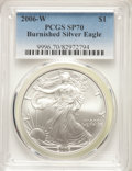 Modern Bullion Coins, 2006-W $1 Silver Eagle, Burnished, SP70 PCGS. PCGS Population: (3527). NGC Census: (10589). Mintage 466,573....