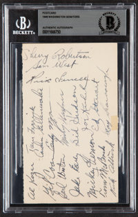 1948 Washington Senators Team Signed Postcard Beckett Authentic
