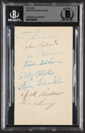 Autographs:Post Cards, 1949 Philadelphia Phillies Team Signed Postcard Beckett Authentic. ...