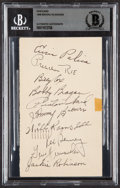 Autographs:Post Cards, 1948 Brooklyn Dodgers Team Signed Postcard Beckett Authentic With Jackie Robinson. ...