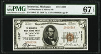 Ironwood, MI - $5 1929 Ty. 1 The Merchants & Miners National Bank Ch. # 12387 PMG Superb Gem Unc 67 EPQ