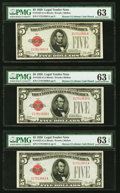 Fr. 1525 $5 1928 Legal Tender Notes. Three Examples. PMG Choice Uncirculated 63; 63 EPQ (2)