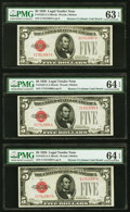 Fr. 1525 $5 1928 Legal Tender Notes. Three Examples. PMG Graded Choice Uncirculated 63 EPQ; Choice Uncirculated 64 EPQ (...