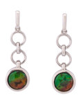Fossils:Cepholopoda, Ammolite Earrings. Placenticeras sp.. Cretaceous. Bearpaw Formation. Southern Alberta, Canada. 0.98 x 0.31... (Total: 2 Items)