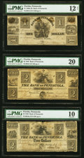 Obsoletes By State:Florida, Pensacola, FL- Bank of Pensacola $1; $2 (2) 1840 G4; G8; G8a Benice 1; 2; 17 PMG Fine 12 Net; PMG Very Fine 20; PMG Very G... (Total: 3 notes)
