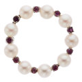 Estate Jewelry:Brooches - Pins, Cultured Pearl, Ruby, White Gold Brooch . ...