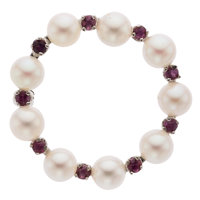 Cultured Pearl, Ruby, White Gold Brooch