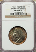 1937-S 50C Boone MS66★ Prooflike NGC. Ex: Bagne Collection. This 1937-S Boone Bicentennial half dollar is decidedly proo...