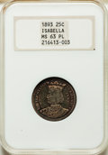 1893 25C Isabella Quarter MS63 Prooflike NGC. NGC Census: (37/58). PCGS Population: (1/2). MS63. Mintage 24,214. ...(PCG...