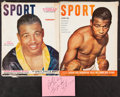 Autographs:Index Cards, Sugar Ray Robinson Cut Signature and Two Magazines. ... (Total: 3 items)