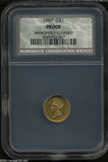 Proof Gold Dollars: , 1887 G$1 Proof, Improperly Cleaned, NCS....
