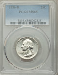 1936-D 25C MS65 PCGS. PCGS Population: (363/180). NGC Census: (151/76). CDN: $700 Whsle. Bid for NGC/PCGS MS65. Mintage...