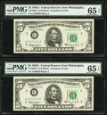 Small Size:Federal Reserve Notes, Low Serial Numbers 14 and 15 Fr. 1968-C $5 1963A Federal Reserve Notes. PMG Gem Uncirculated 65 EPQ.. ... (Total: 2 notes)