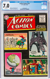 Action Comics #211 (DC, 1955) CGC FN/VF 7.0 White pages