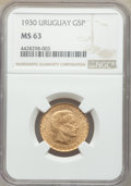 Uruguay: Republic gold 5 Pesos 1930-(a) MS63 NGC