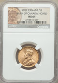 Canada: George V gold 5 Dollars 1912 MS64 NGC