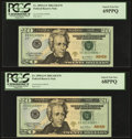 Fr. 2090-G* $20 2004 Federal Reserve Notes. Five Consecutive Examples. PCGS Graded. ... (Total: 5 notes)