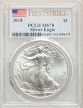 Modern Bullion Coins, (2)2018 $1 Silver Eagle, First Strike MS70 PCGS. PCGS Population: (69200). NGC Census: (0). MS70.... (Total: 2 item)