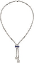 Estate Jewelry:Necklaces, Diamond, Sapphire, White Gold Necklace, Fope. ...