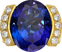Tanzanite, Diamond, Gold Ring, Neiman Marcus