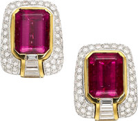 Tourmaline, Diamond, Platinum, Gold Earrings