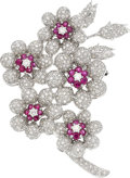 Estate Jewelry:Brooches - Pins, Diamond, Ruby, White Gold Brooch . ...