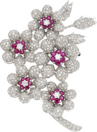 Diamond, Ruby, White Gold Brooch