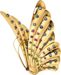 Multi-Color Sapphire, Emerald, Diamond, Gold Brooch, Babayan