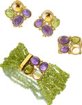 Multi-Stone, Gold Jewelry Suite, Rajola ... (Total: 3 Items)