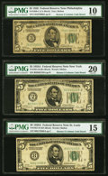 Fr. 1950-C $5 1928 Federal Reserve Note. PMG Very Good 10; Fr. 1951- B; H; J $5 1928A Federal Reserve Notes. PM