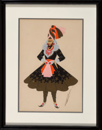 Erté (Romain de Tirtoff) (Russian/French, 1892-1990) Costume Design Pencil and gouache on paper 13-3/4 x 8-3/4 in...