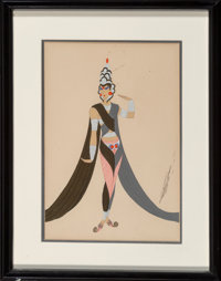 Erté (Romain de Tirtoff) (Russian/French, 1892-1990) Costume Design Pencil and gouache on paper 12-1/2 x 8-1/2 in...