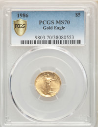 1986 $5 Tenth-Ounce Gold Eagle MS70 PCGS. PCGS Population: (87). NGC Census: (1241). CDN: $700 Whsle. Bid for NGC/PCGS M...