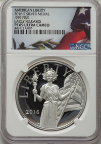2016-S Medal American Liberty, Early Releases PR69 Ultra Cameo NGC. NGC Census: (0/0). PCGS Population: (1266/1184)....(...