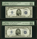Small Size:Silver Certificates, Changeover Pair Fr. 1652/1653 $5 1934B/1934C Wide Silver Certificates. PMG Choice Uncirculated 64 EPQ.. ... (Total: 2 notes)